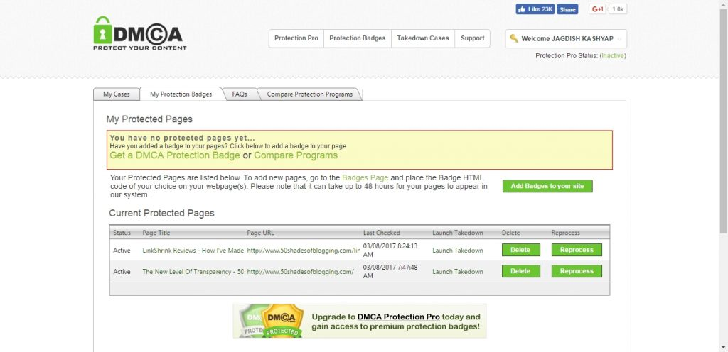DMCA Protected Pages